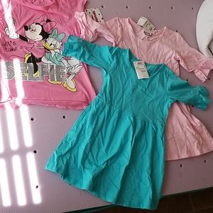 2 dresses and 1 Minnie Mouse/Daisy tee
